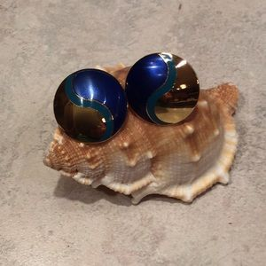 Laurel Burch post Earrings blue teal and Gold
